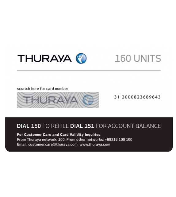 THURAYA Prepay Top Up - 160 Units (Soft PIN)